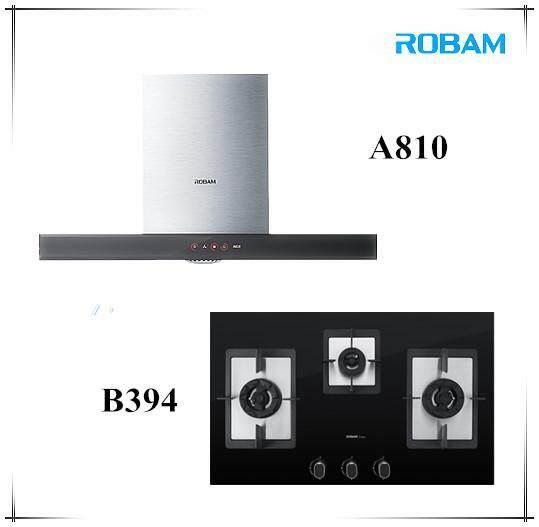 ROBAM A810 Chimney Hood + B394 3 Burners Glass Hob