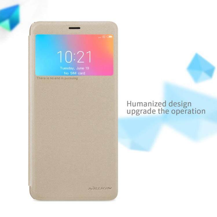 NILLKIN Sparkle Flip Smart Sleep Window PU Leather Case For Xiaomi Redmi 6A (Grey/Gold)