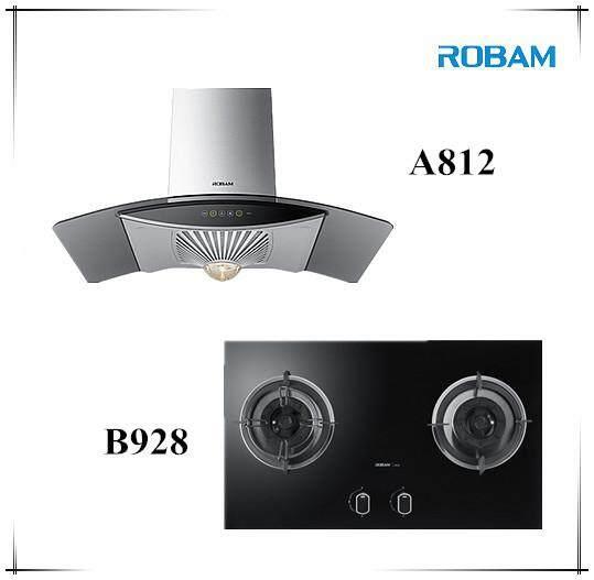 ROBAM A812 Chimney Hood + B928 2 Burners Glass Hob