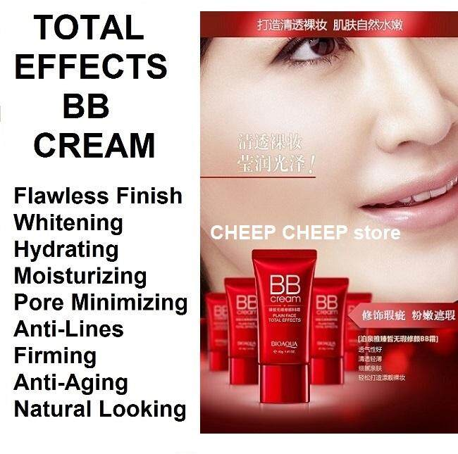 Bioaqua Total Effects BB Cream Plain Face Effect - Lasting Moisturizing Hydrating Whitening Firming Lifting Pore Minimizing Anti-Wrinkle Anti-Aging 40g