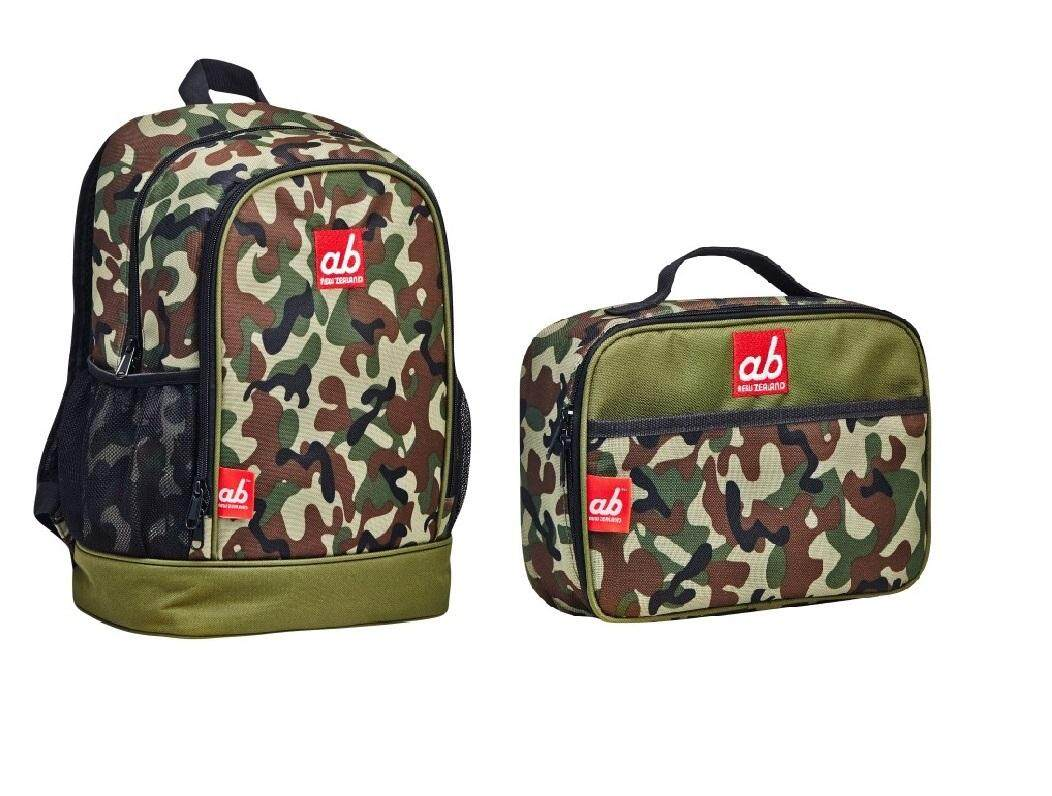 ab New Zealand Toddler Backpack & Lunch Bag Value Combo Set (Woodland Full Camo)