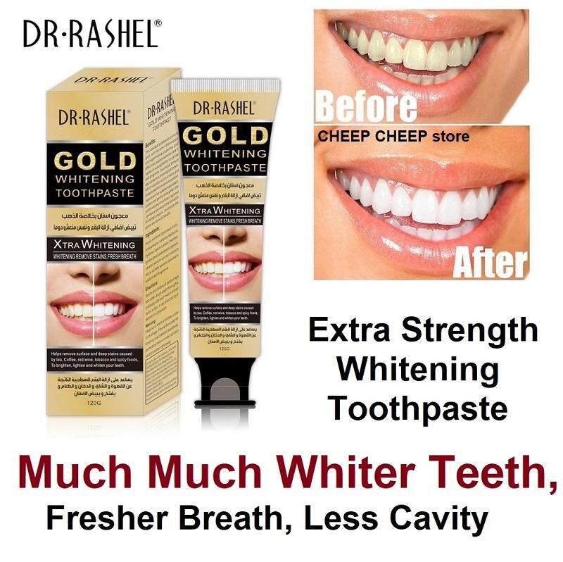 Dr Rashel دبي Gold Whitening Toothpaste – Xtra Extra White Effectively Remove Smoking Coffee Tea Stains Whiten Teeth Freshen Breath Prevent Cavities  120g