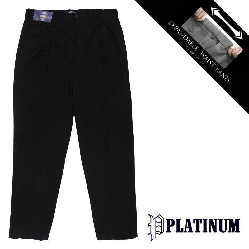 PLATINUM BIG SIZE EWB Chinos Long Pant Double Pleated PM652 (Black)