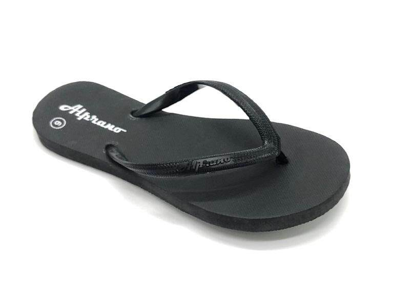 Alprano APL-01 Rubber Anti Slip Flat Slippers Beach Slippers Ladies Designs UK Size 6 (Black)