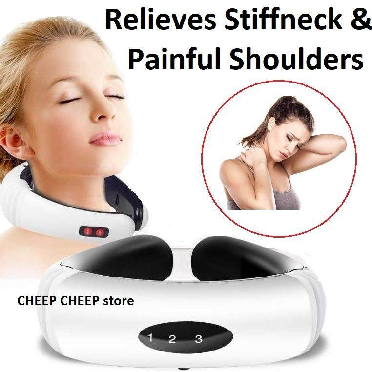 Neck Massager for Stiff Neck & Shoulders – Electrical Cervical Vertebra Physiotherapy Pulse Massage System EMS Acupoint Magnetic Therapy