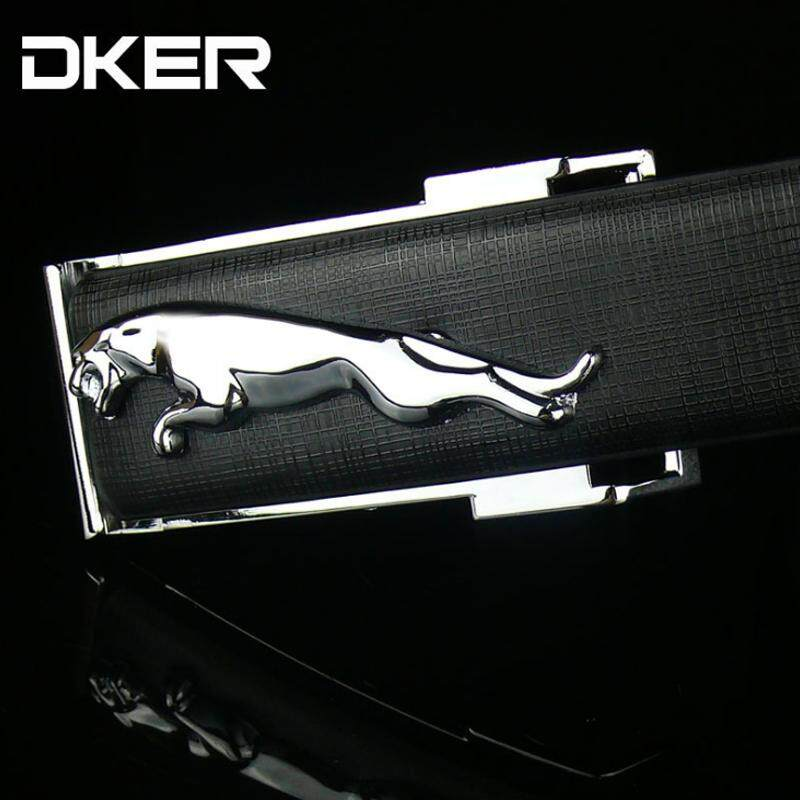 DKER Men Genuine Leather Internal Pin Jaguar Buckle Black Waist Belt Tali Pinggang 298 -MI2981
