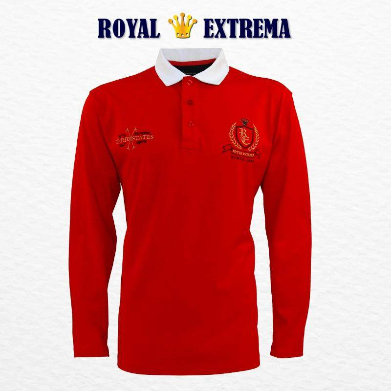 ROYAL EXTREMA BIG SIZE Men's Woven Collar Long Sleeves T-Shirt RE4001 (Red)