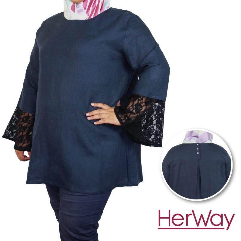 HERWAY PLUS SIZE Cotton Linen Blouse HW9028 (Navy)