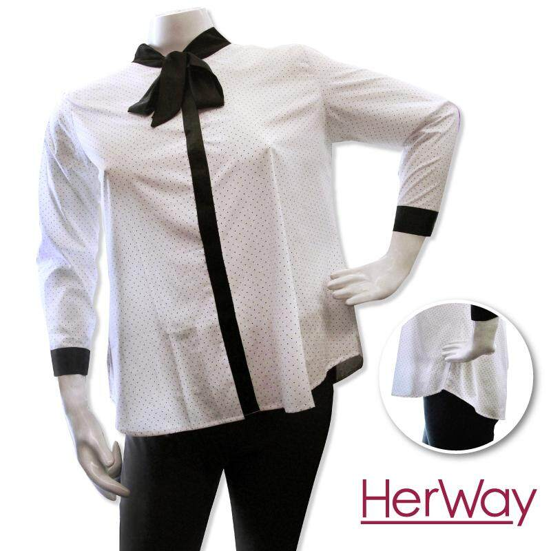 HERWAY PLUS SIZE Ladies Formal Shirt with Bow Tie HW9036 (White)