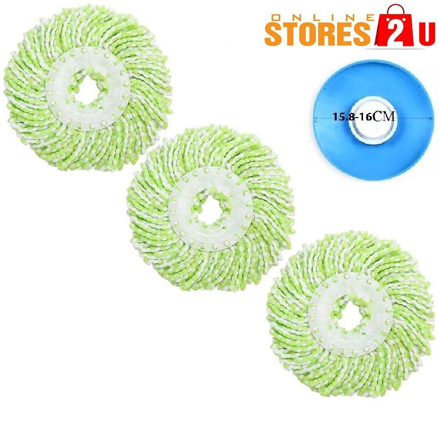 3pc [Stores2u] Universal Replacement Accessories Microfiber Fabric Mop Heads Cloth Refill Pad for 360 Easy Magic Spin Mop (Plate 15.8cm -16cm)