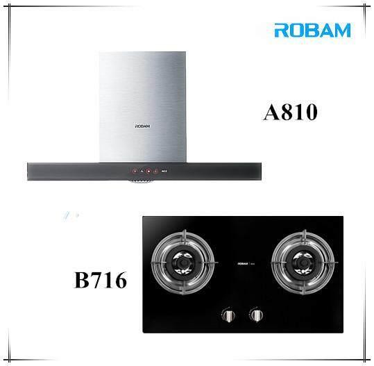 ROBAM A810 Chimney Hood + B716 2 Burners Glass Hob