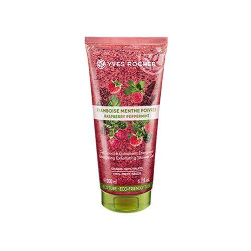 YVES ROCHER Plaisir Nature Energy Exfoliating Shower Gel 200ml - Raspberry Peppermint