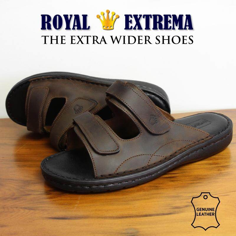 ROYAL EXTREMA EXTRA WIDE Leather Slide Sandal RESD0001 (Dark Brown)