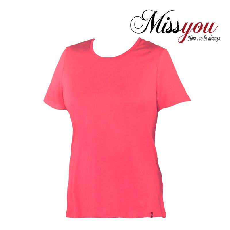 MISS YOU PLUS SIZE Round Neck Short Sleeves Plain Tees MY100007 (Fuchsia Pink)