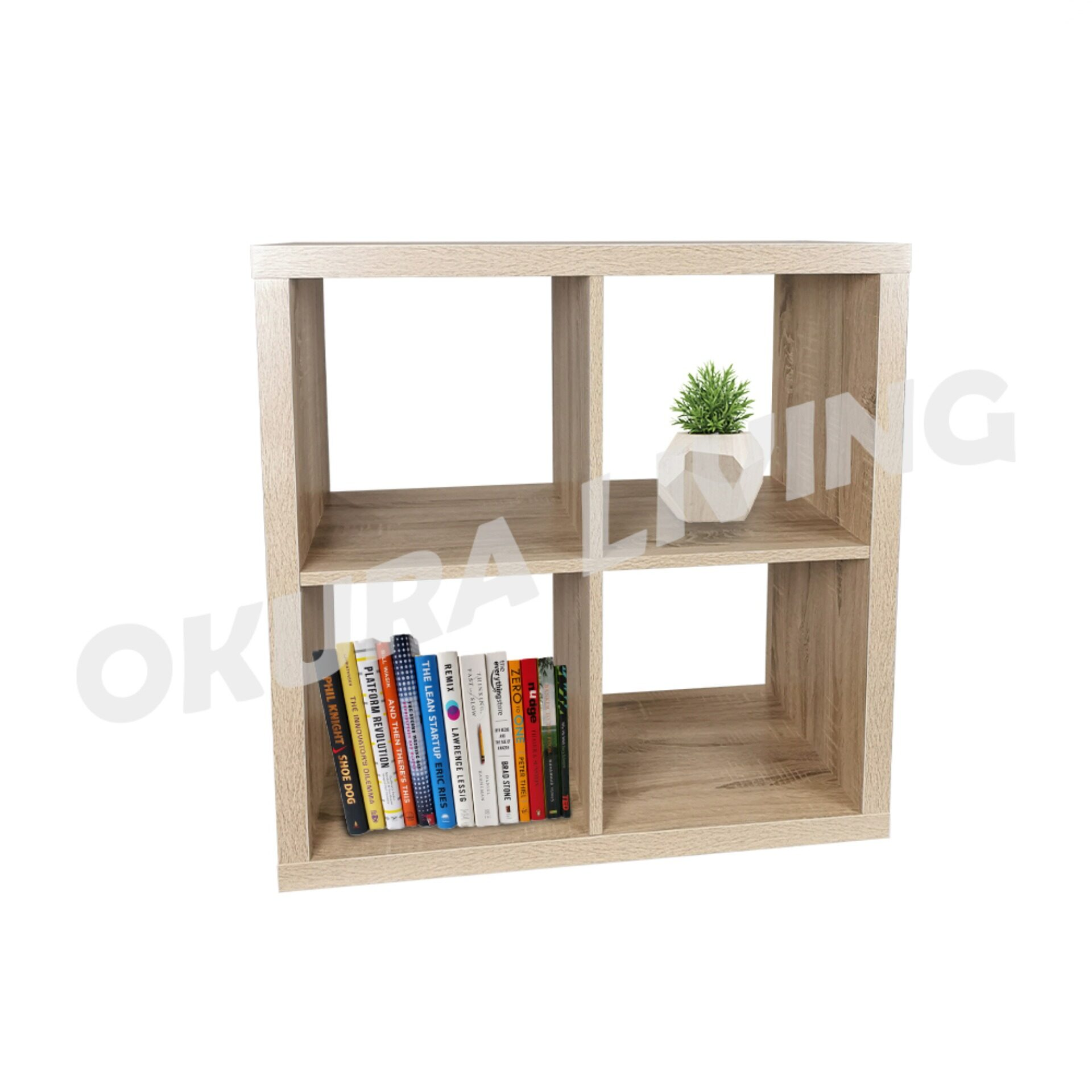 OKURA 4 Cubes Organiser Shelf Modern Home Living (White Melamine Finished)
