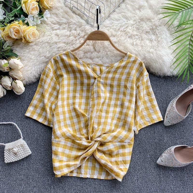 ?PRE-ORDER 21 DAYS?V-neck short-sleeved knotted plaid shirt chiffon shirt