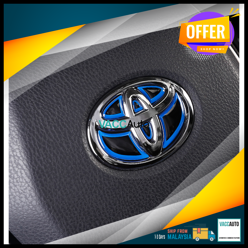 Toyota Steering Wheel Emblem Logo Sticker - Blue