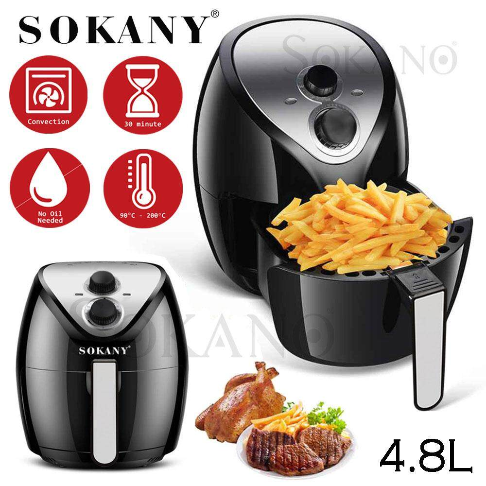 SOKANY HB-8009 4.8L Large Capacity Air Fryer With Nonstick Pan For Frying, Deep Fry, Roast, Grill, Cook ( Free Adaptor )