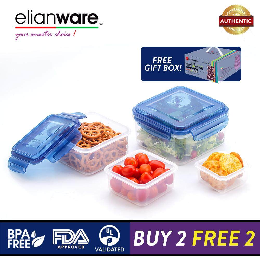 Elianware Ezy-Lock 100% Airtight Seal [1.4L] Microwavable Food Containers [BUY 3 FREE 1]