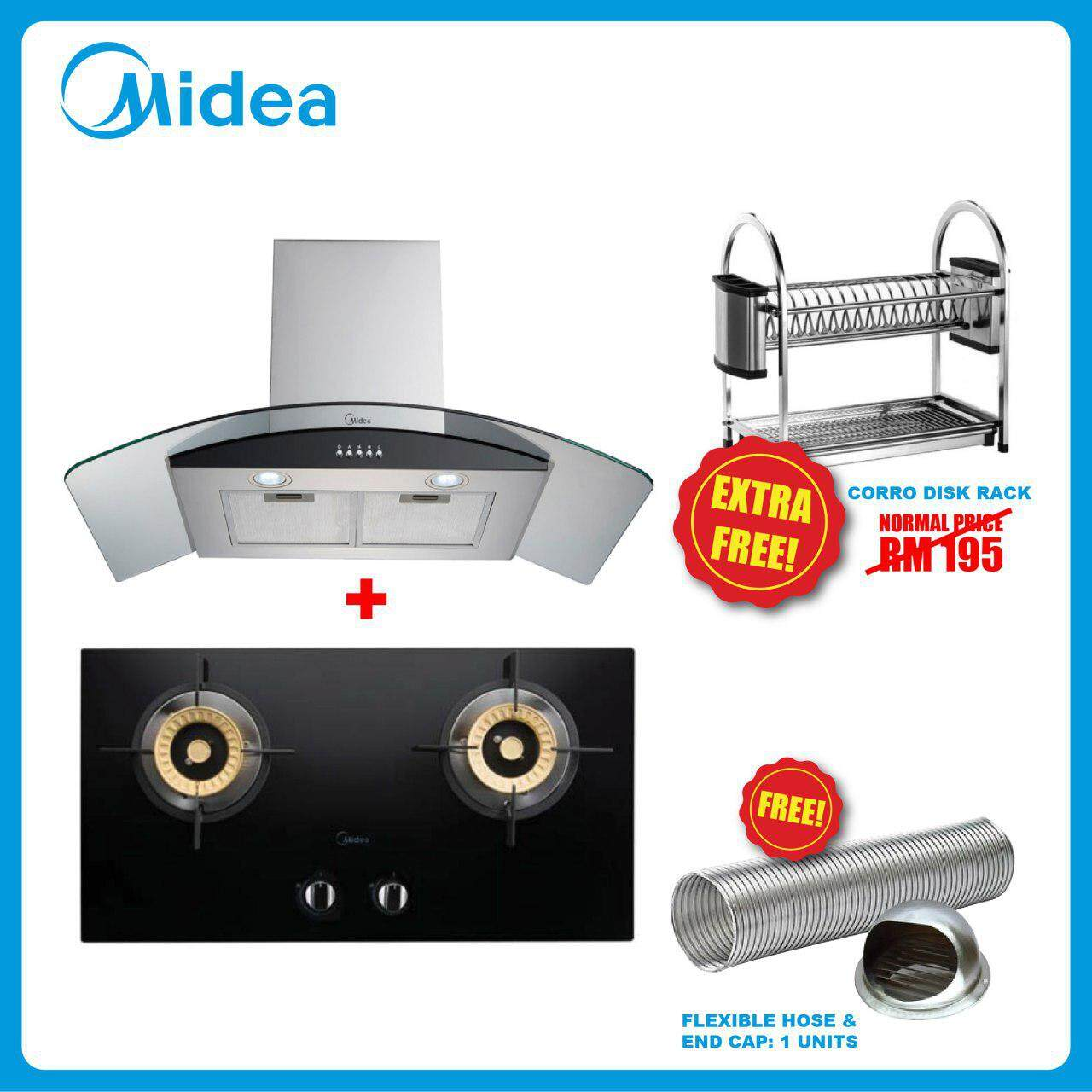 MIDEA MCH-90MV3 Cooker Hood with Charcoal Filter + MGH-2408GL 2 Burners Build-In Glass Hob