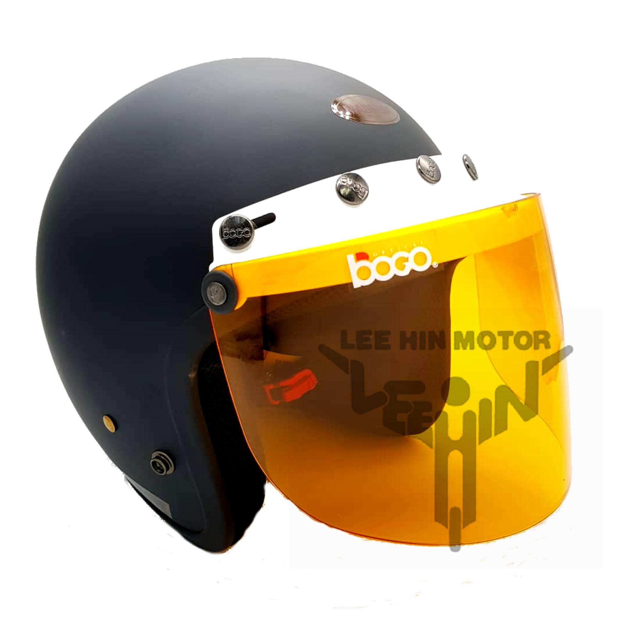 Original Magnum M9 5 Button White Cap Helmet with Orange visor ( Matt Black )