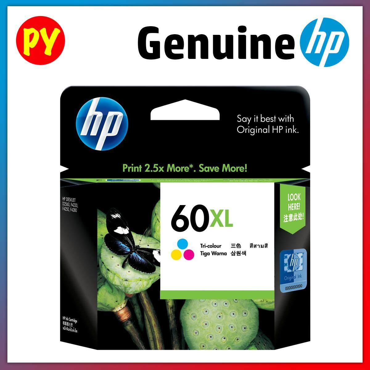 HP 60 Original Ink Cartridge (Black, Tri-Color, Black + Color Combo Pack XL) - CC640WA CC643WA CN067AA CC641WA CC644WA
