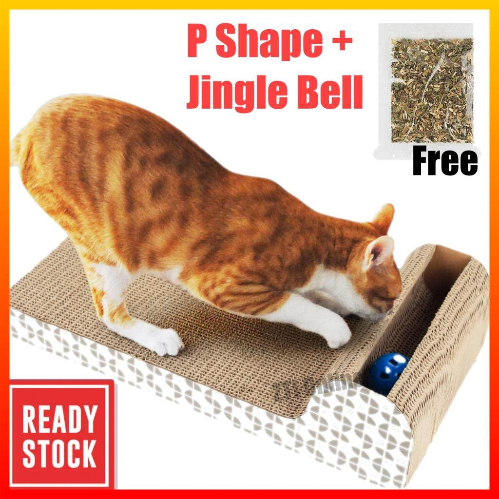 Deluxe Large Cardboard Cat Scratching Scratcher with Jingle Balls Mainan Kucing Cat Toy Cat Scratcher Scratching Board