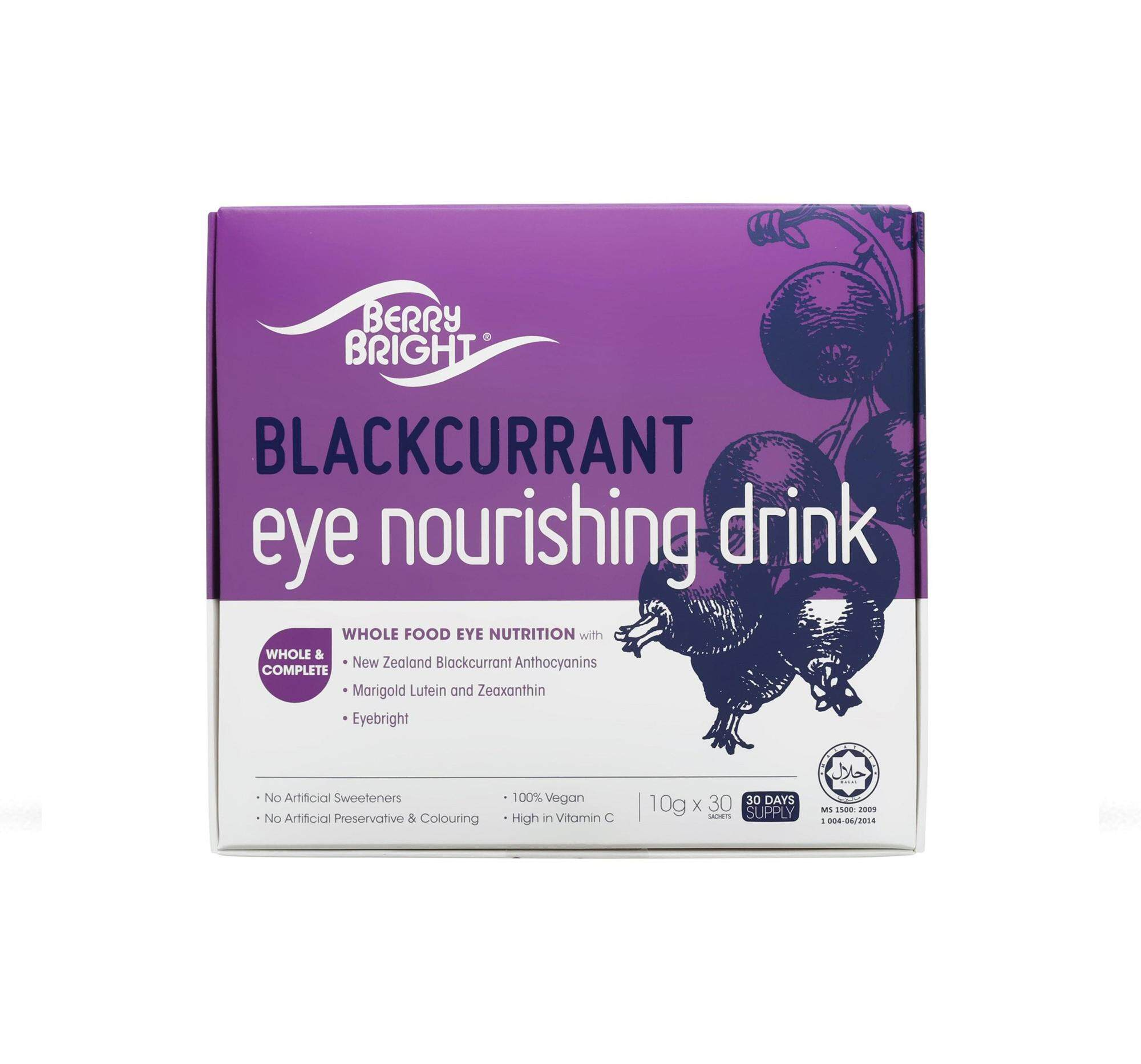 Berry Bright Eye Nourishing Drink, 30 Sachets (30-Day Supply) Natural Health Eyes and Vision Supplement with Lutein Zeaxanthin Anthocyanin Eyebright & High Vitamin C