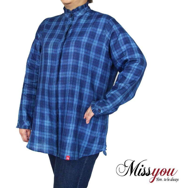 MISS YOU PLUS SIZE Women Ruffled Detail LS Blouse MY900009 (Blue)