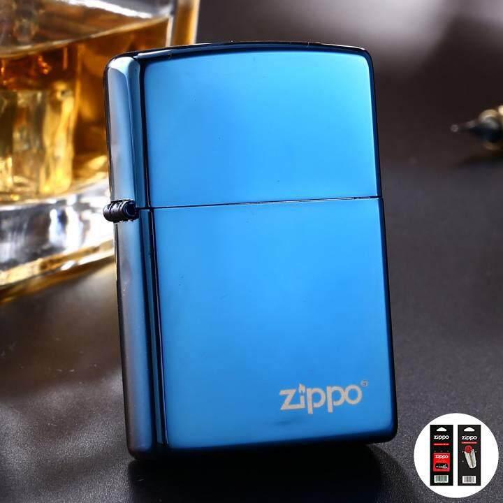 High Polish Blue Zippo Logo 20446ZL - Free Zippo Flints & Wick