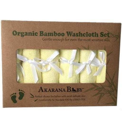 Akarana Baby Best Value for Money Organic Bamboo Washcloth 6pcs/Set (Yellow)