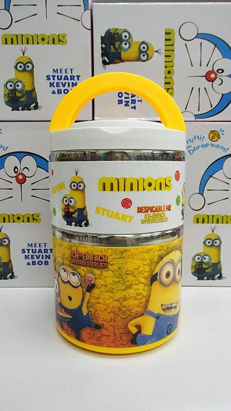 [Ready Stock] 2 Layer Stainless Steel Cartoon Lunch Box (BGJAYA)-Minions