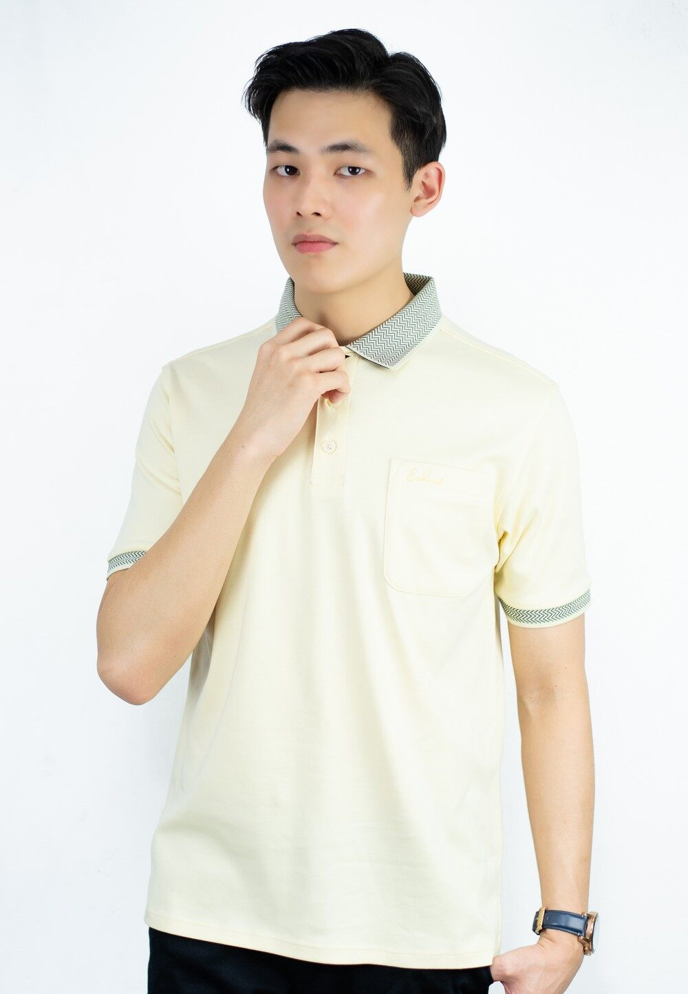 Polo Tee with Chevron Collar and Pocket with Embroidery