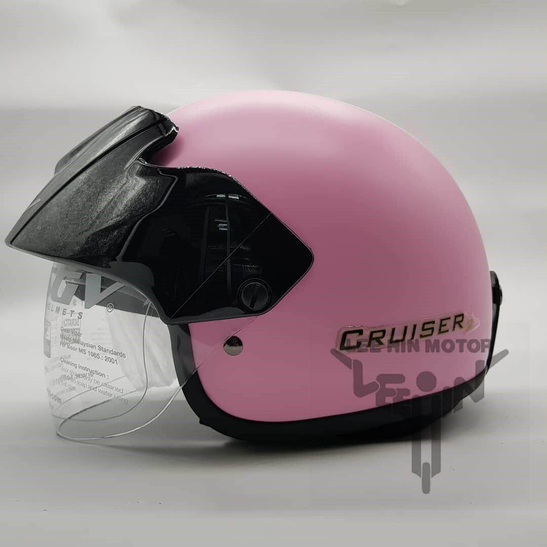 Original SGV Stripes Cruiser Matt Colour Helmet ( Matt Pink ), Clear (FREE)