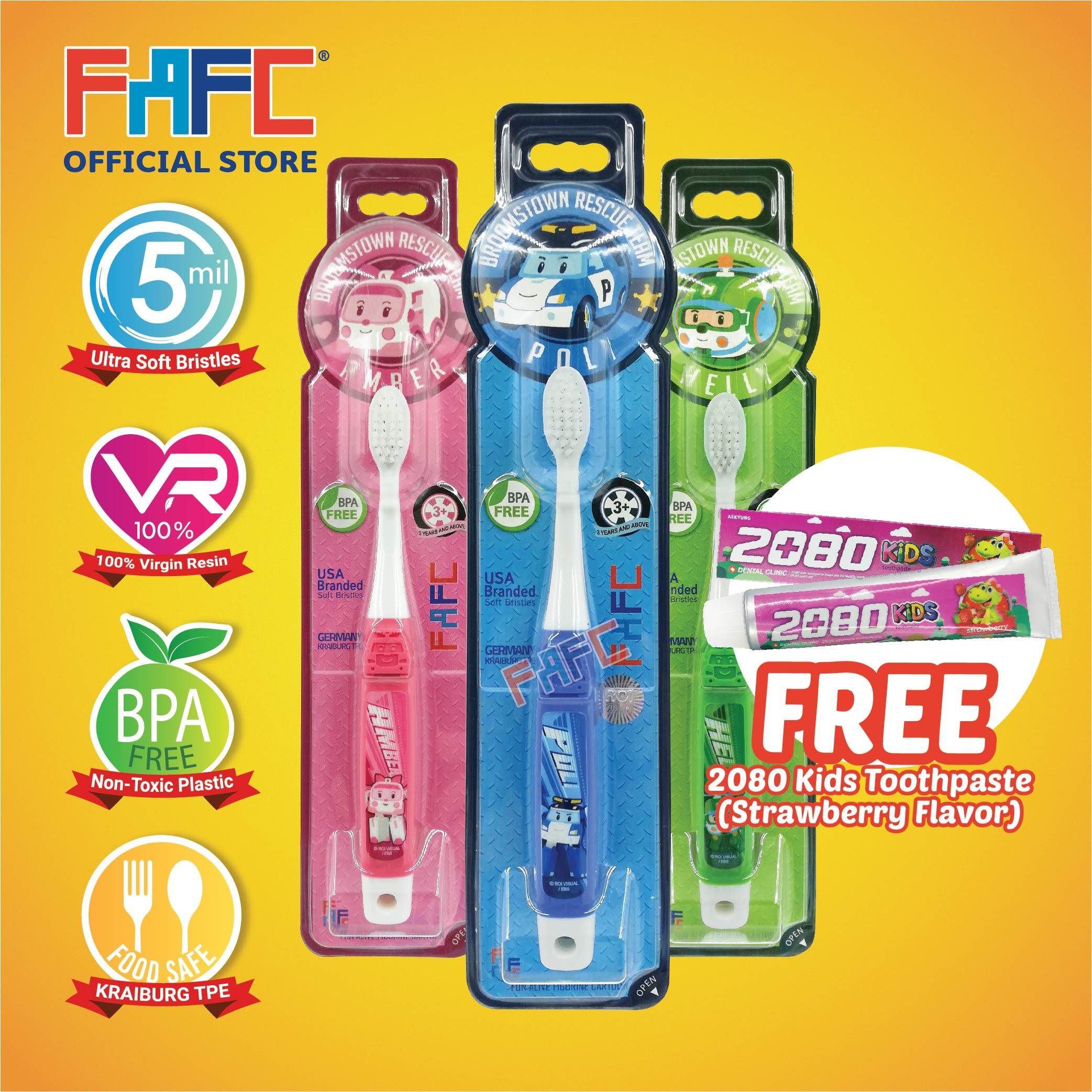 POLI AMBER HELLY - (3 Pcs) FAFC Robocar Poli Hook Kids Toothbrush FREE 2080 Kids Toothpaste (Strawberry Flavor)