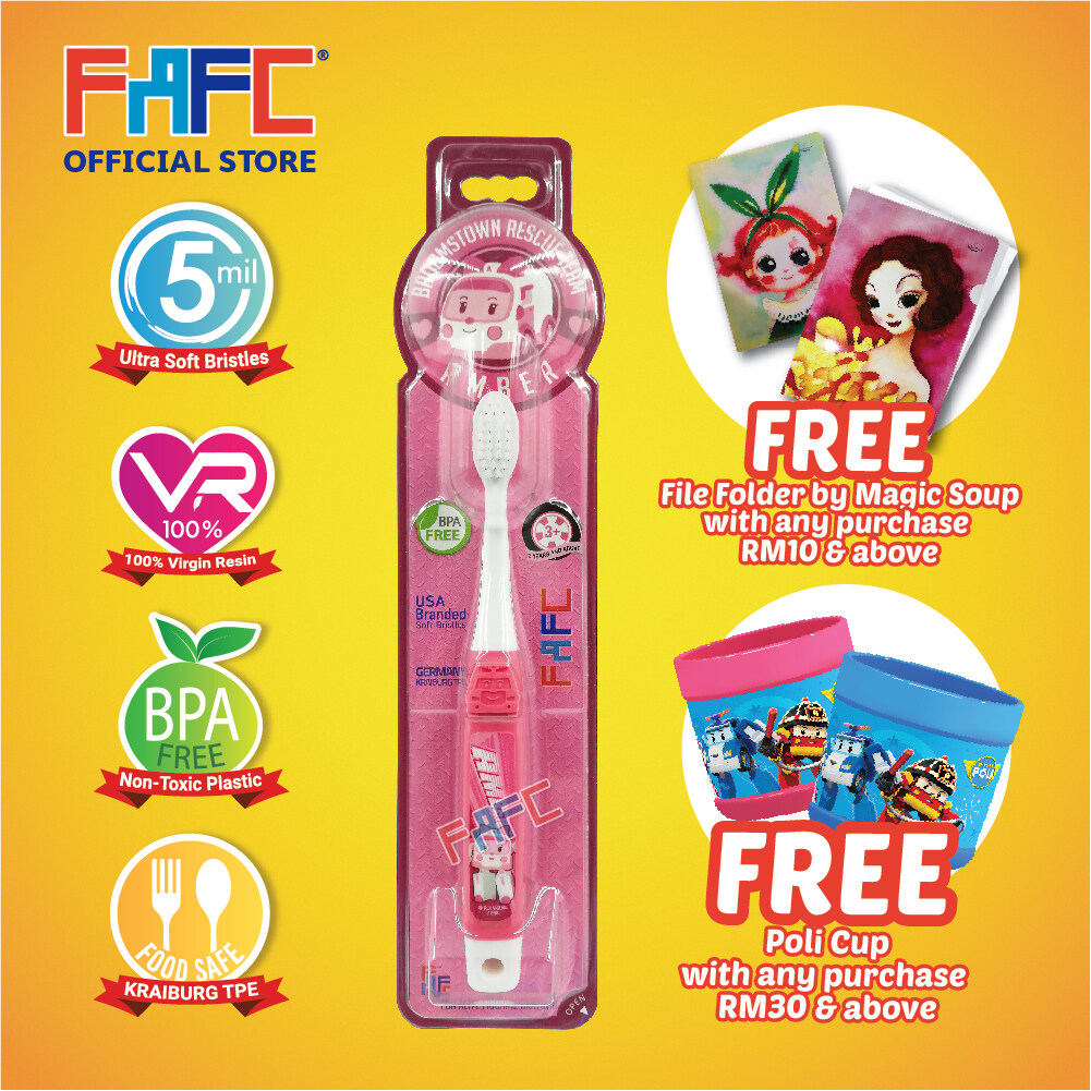 Amber - (1 Pcs) FAFC Poli Hook Kids Toothbrush - Poli