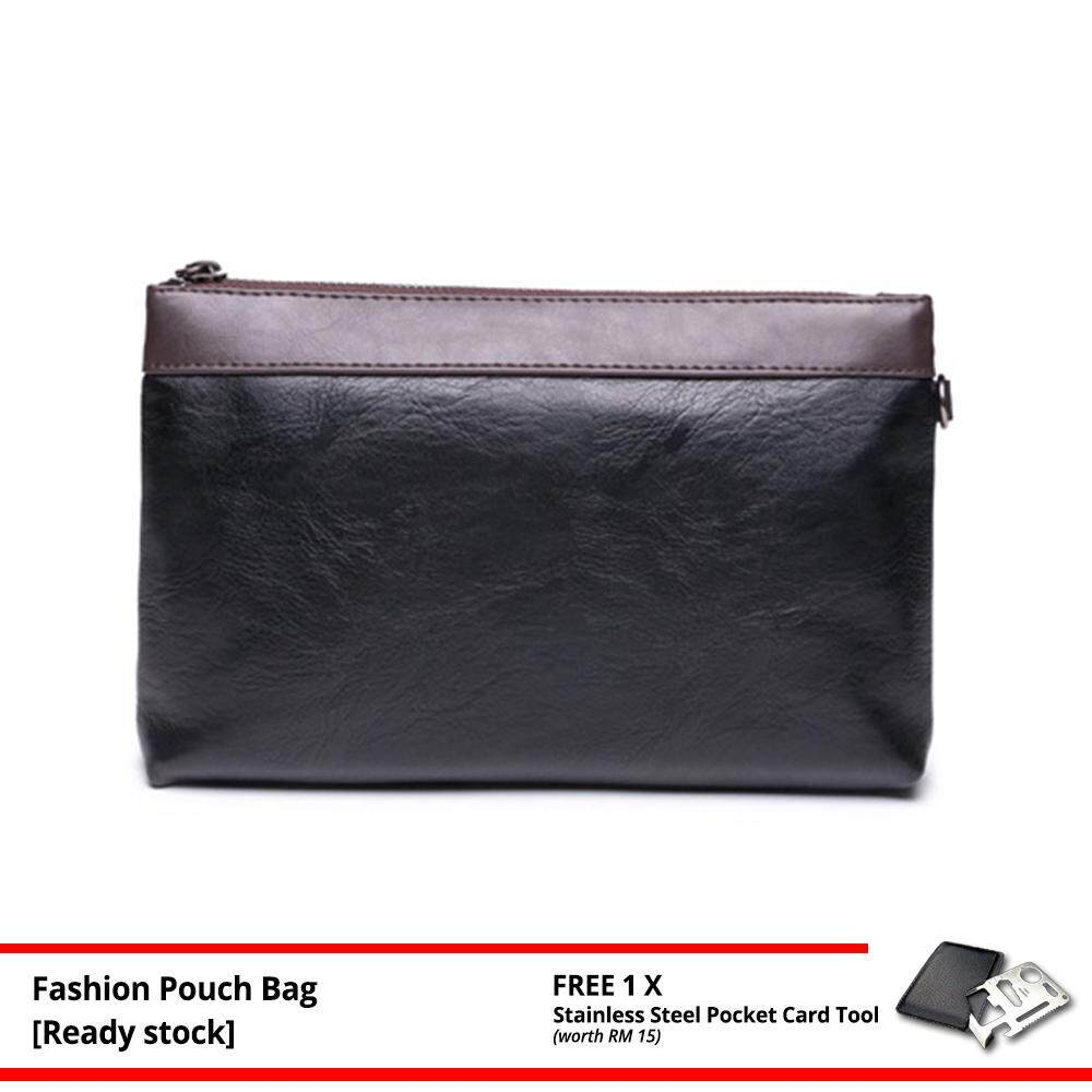 [Ready Stock] MV Bag MEN Premium High Quality Leather Purse Wallet Casual Pouch Clutch Bag Multipurpose 129 (Leather Black) MI1291