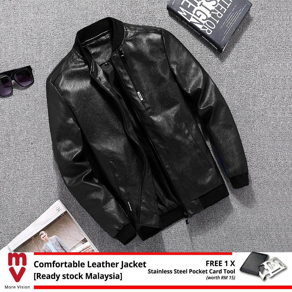 [READY STOCK] Comfortable Leather Jacket Men's Casual New Fashion Style PU for Stylish Man Biker Motorcycle Bomber -MI51901