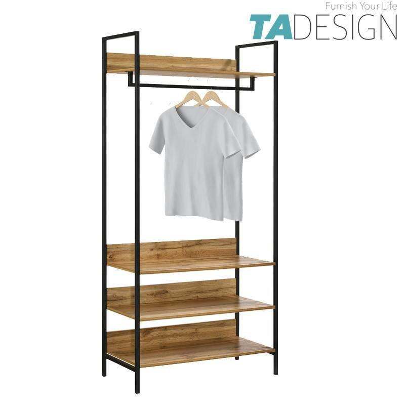 TAD NORMAD industrial design big garment rack with shelves
