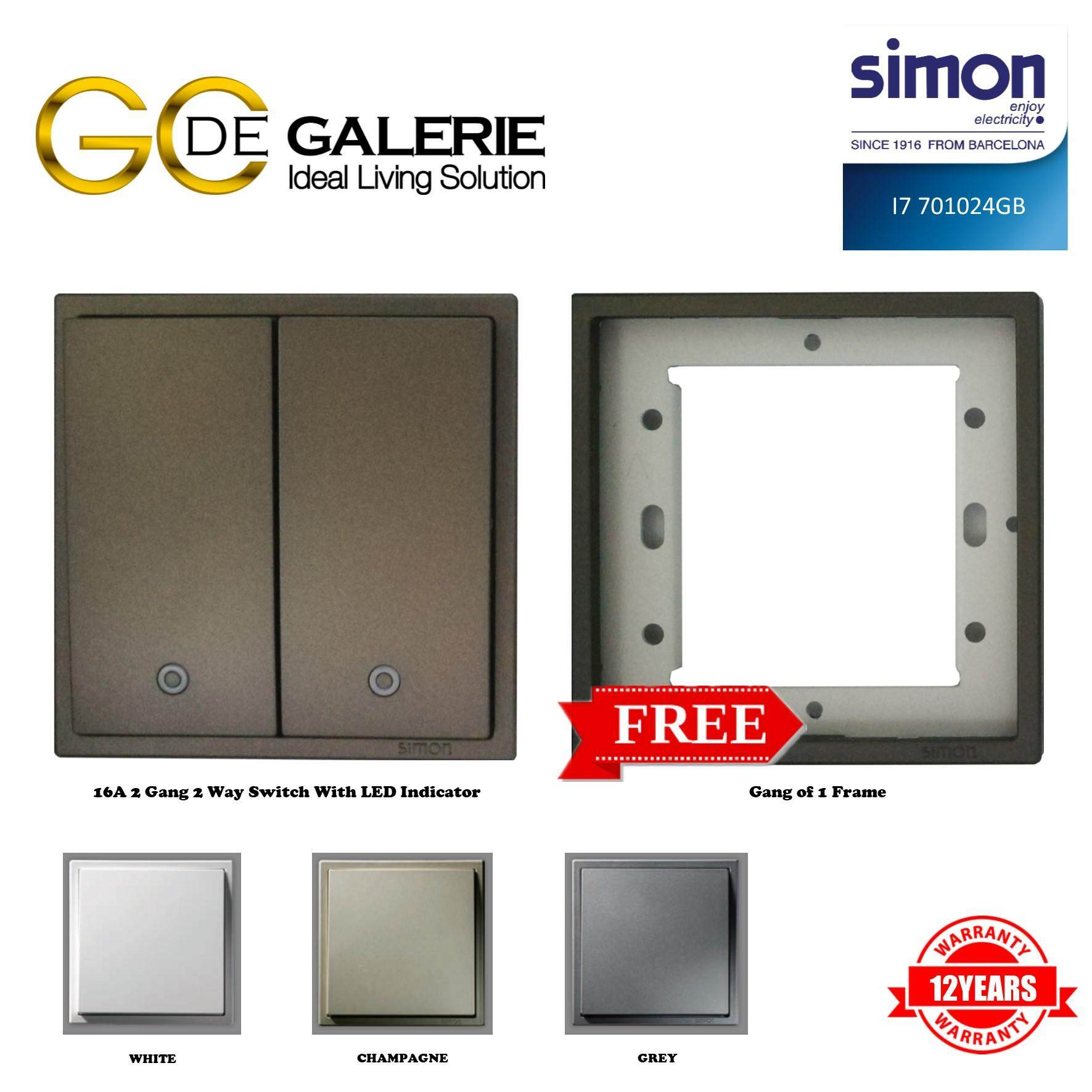 SIMON i7 SERIES 701024 2 GANG 2 WAY SWITCH WITH LED INDICATOR GRAPHITE BLACK FREE 1 GANG FRAME
