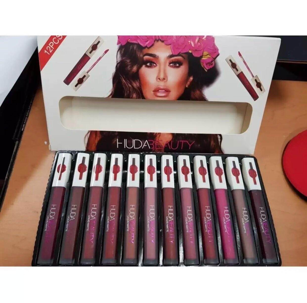 Huda 12pcs Liquid Matte Lipsticks White Box + Free Gift