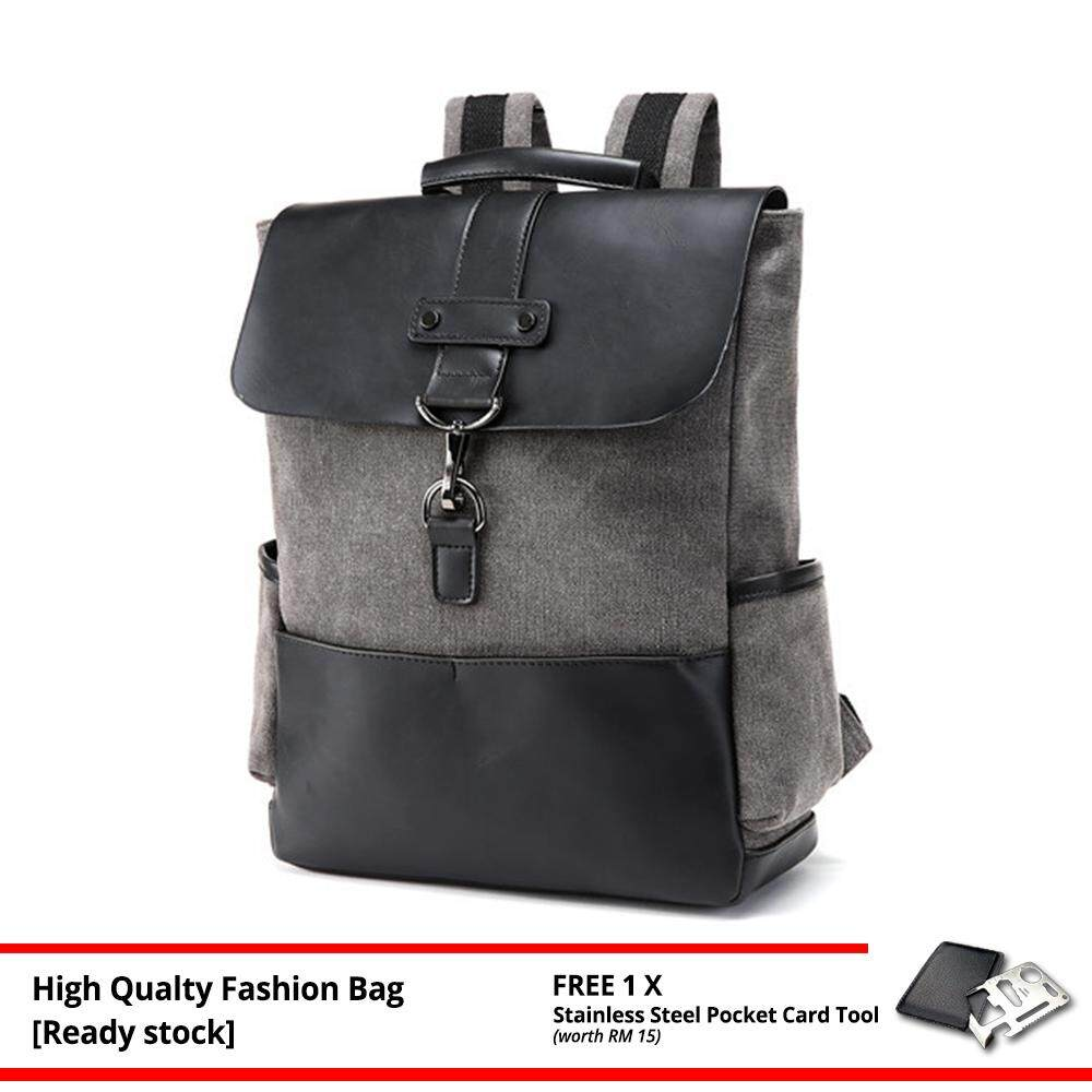 MV Bag Backpack Trendy Laptop Beg Casual Canvas Waterproof Travel Black Stylish Outfit Design 474 MI4741