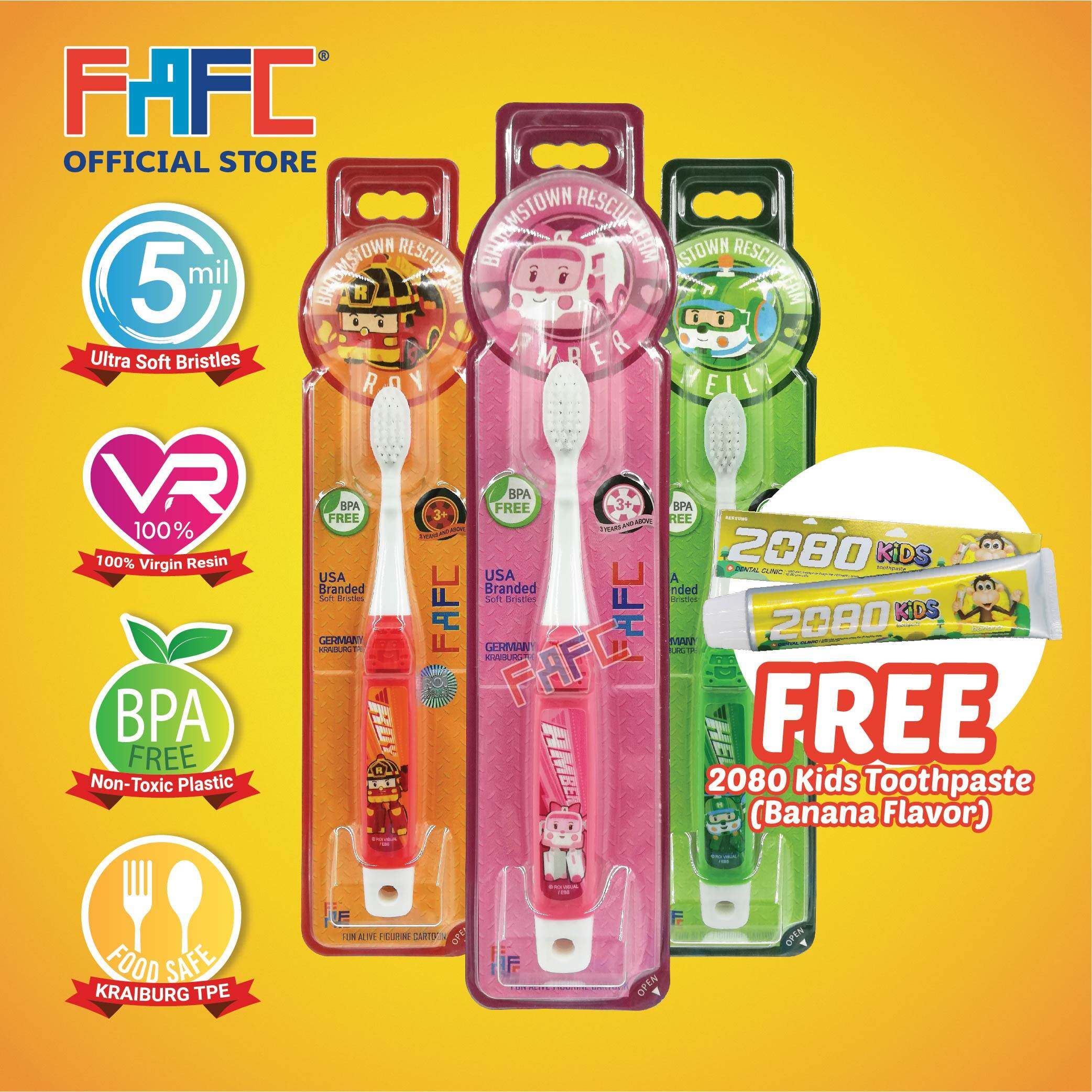 AMBER ROY HELLY - (3 Pcs) FAFC Robocar Poli Hook Kids Toothbrush FREE 2080 Kids Toothpaste (Banana Flavor)