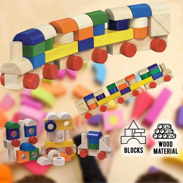idrop Kids Children Creative Colorful Unit Block Train Wood Material  [BR-35021] Toys for boys -