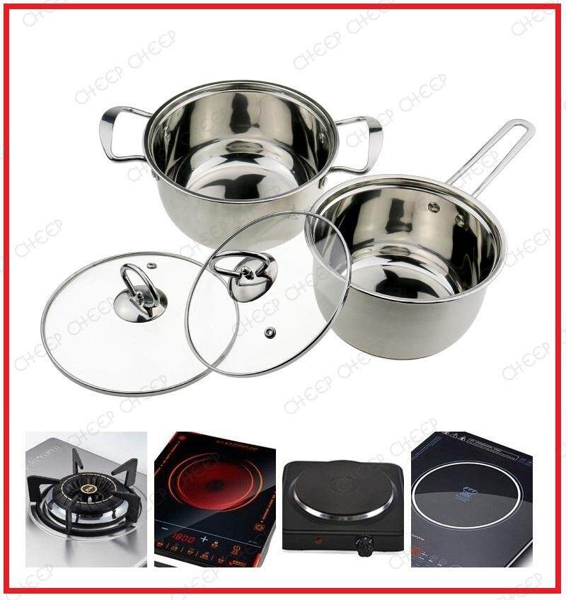 2 set Stainless Steel 18cm Milk Pot / Saucepan