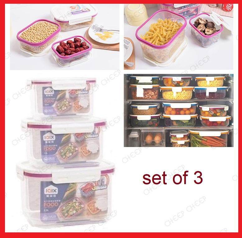 3 Stackable Lock Rectangular Food Container Air Tight Leak Proof Crisper BPA-free Plastic Space Saving Storage with Silicone Sealing Ring 800ml