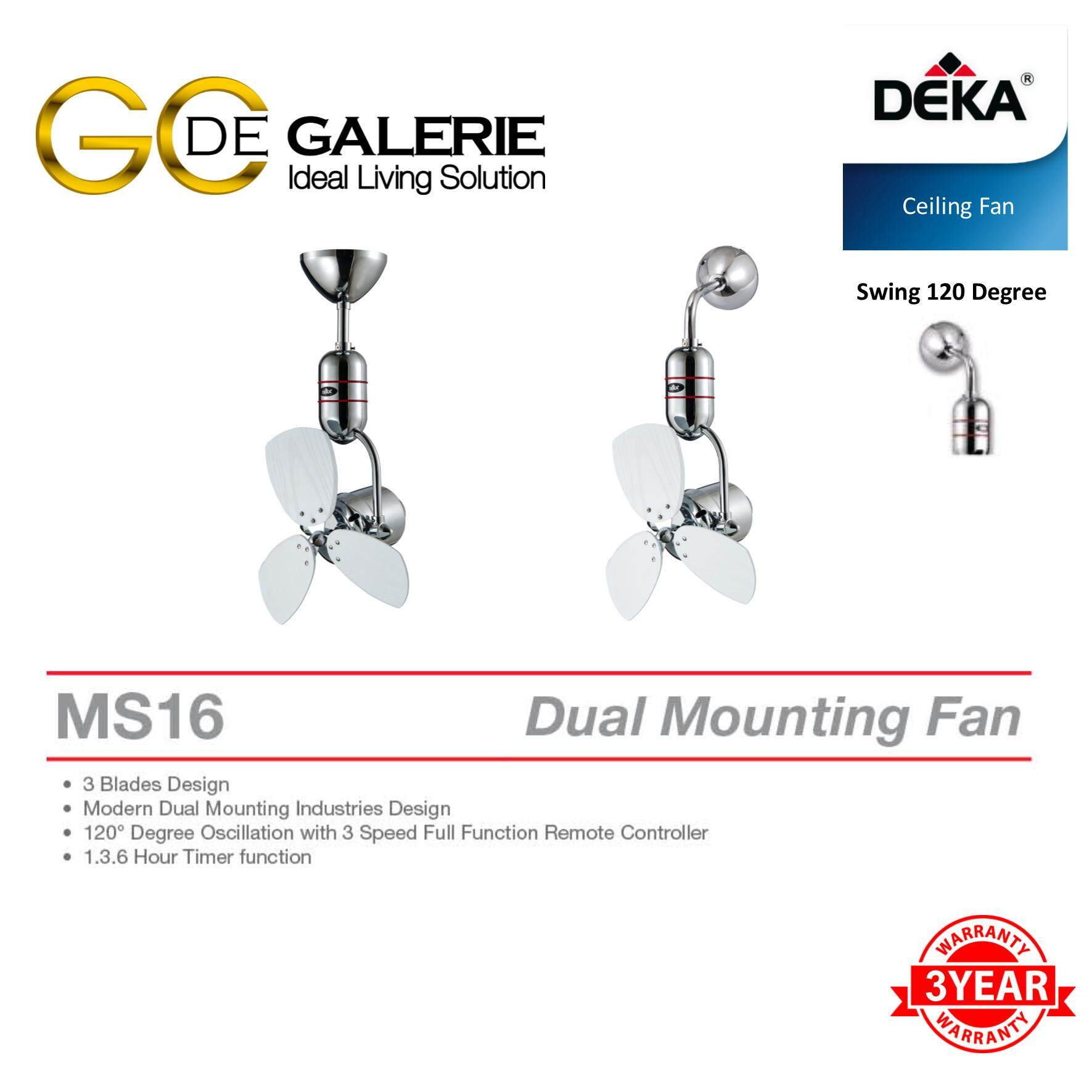 CEILING FAN DEKA MS16-3B-WHW 16""