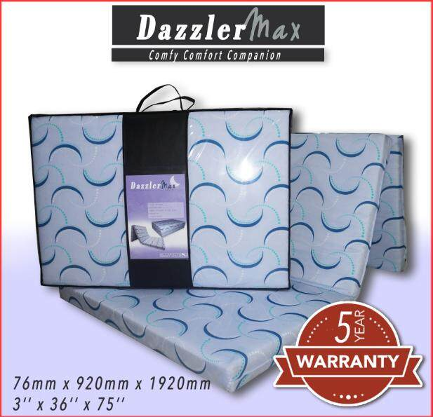 Dazzler Max Three Fold High-Grade Synthetic Rebond Mattress Tilam Katil with Carry Bag (5 Years Warranty)  Single Size  Comfortable  Easy storage  Foldable Mattress  Katil Lipat  Single Tilam  Portable Mattress  Travel Mattress