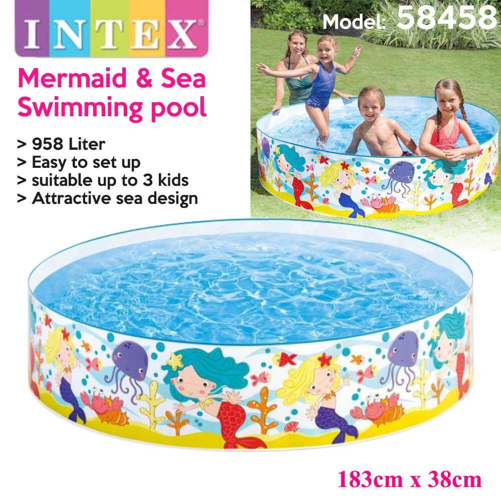 INTEX 58458 Mermaid and Sea Baby Bathtub Play Pool Swimming Pool Set for Baby or Kids (183 x 38cm) Toys for boys