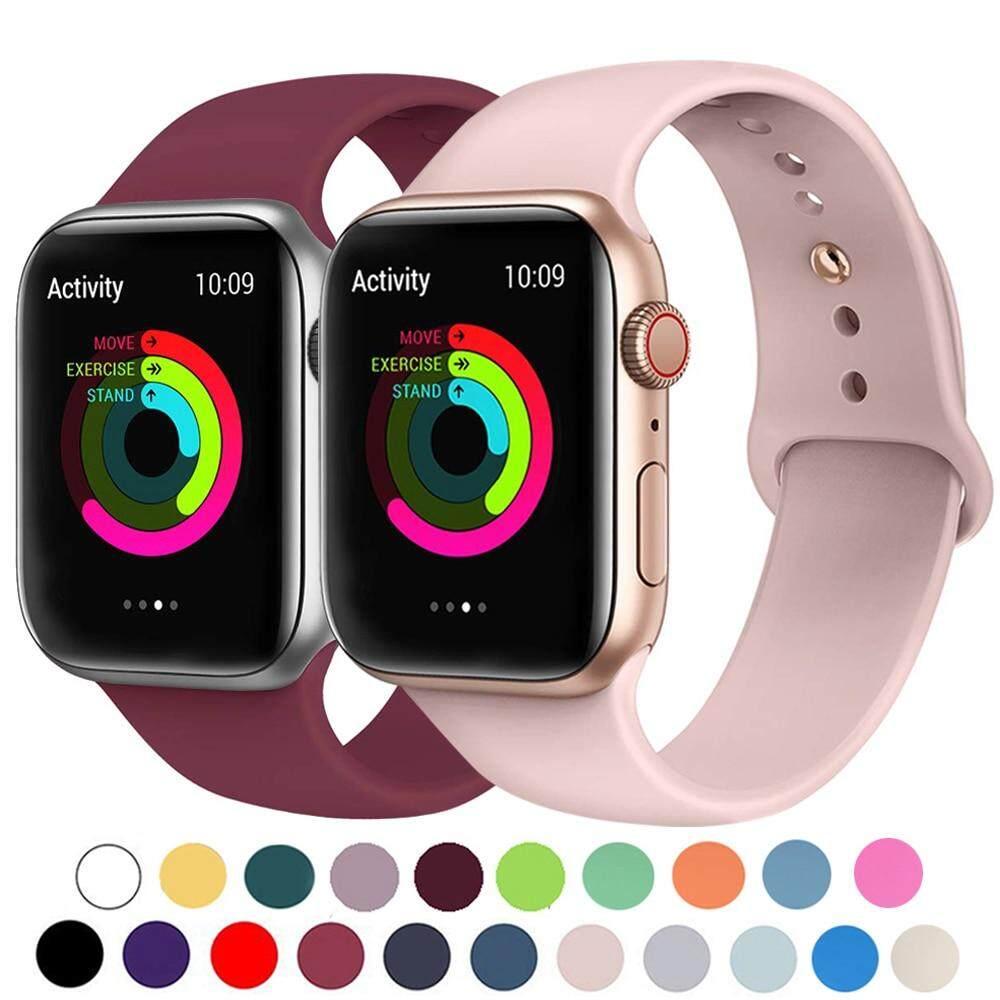 Dây Đồng Hồ Apple Watch 42Mm 38Mm 44Mm 40Mm, Màu Đen Bằng Silicon, Dây Đeo Cổ Tay Bằng Cao Su, Dành Cho Apple Watch Series 6/SE/5/4/3/2/1
